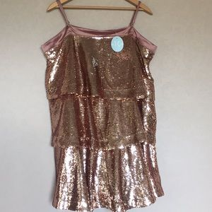 NWT Tea & cup rose gold sequin dress 3X